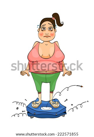 Woman is standing on the scales. She's in shock because the balance is broken. - stock vector