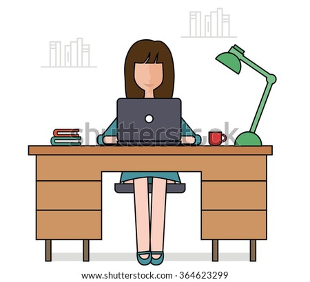 Woman is working with laptop. Flat modern illustration of working process - stock vector