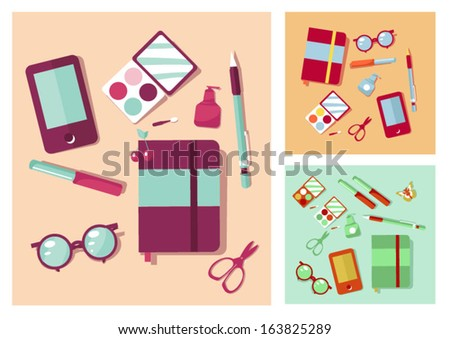 Woman items on table
