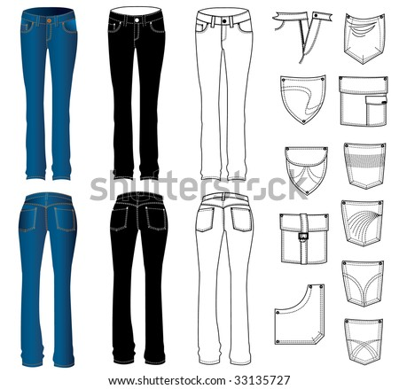 Woman jeans.Vector - stock vector