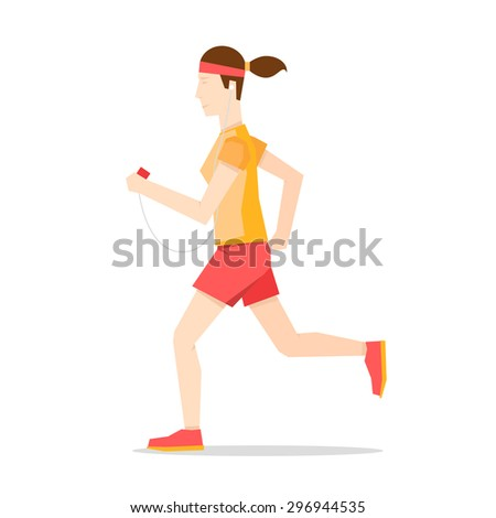Woman jogging, sports, jogging. Healthy lifestyle. Flat style vector illustration. - stock vector