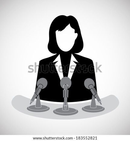 woman journalist before a microphone - stock vector