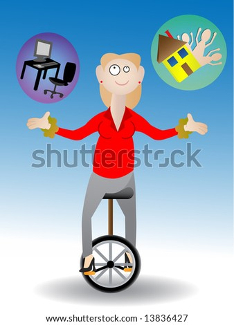 Woman juggling work and family - Vector