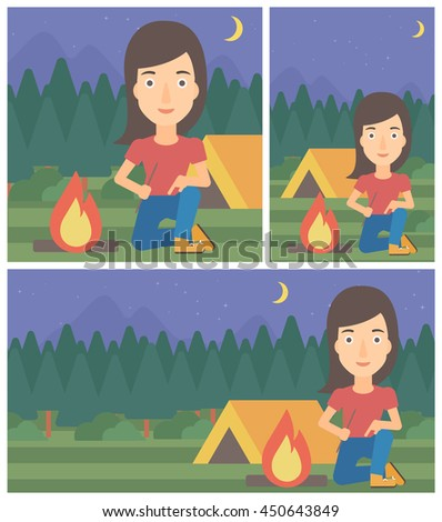 Woman kindling campfire on the background of camping site with tent. Tourist relaxing near campfire. Woman sitting near campfire. Vector flat design illustration. Square, horizontal, vertical layouts. - stock vector