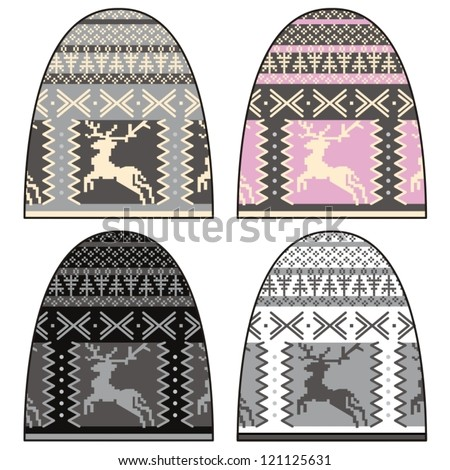 Woman knitted jersey (cap with deer pattern).