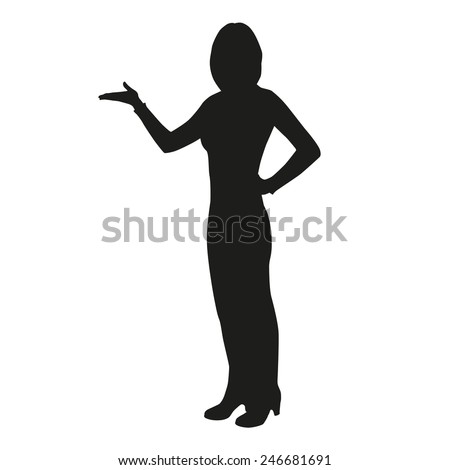 Woman lectures and showing something at presentation - stock vector