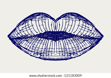 Woman lip mouth kiss. Doodle style - stock vector