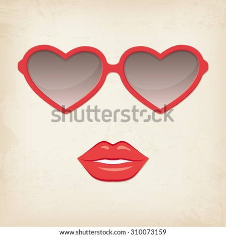 Woman lips and glasses