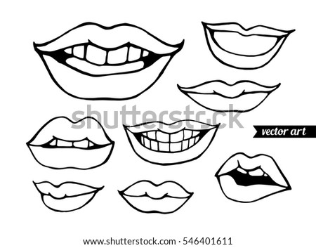 Woman Lips Isolated On White Comics Sketch Vector Illustration Black And
