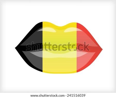 Woman lips with Belgium flag - stock vector