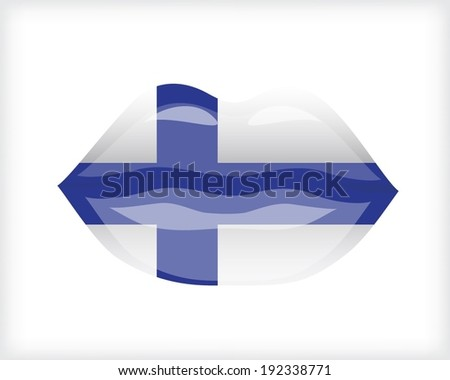 Woman lips with flag of Finland - stock vector