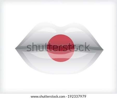 Woman lips with Japanese flag - stock vector