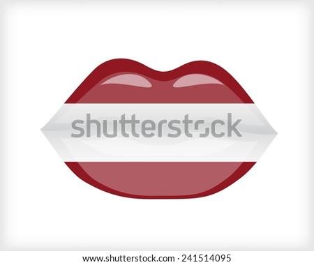 Woman lips with Latvia flag - stock vector