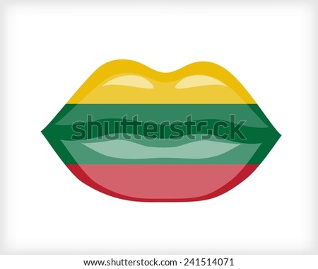 Woman lips with Lithuania flag - stock vector