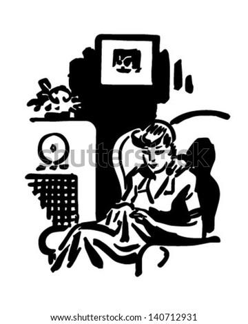 Woman Listening To Radio Show - Retro Clip Art Illustration - stock vector