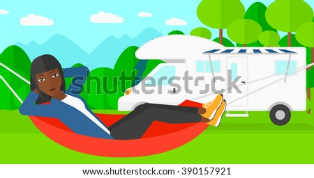 Woman lying in hammock.