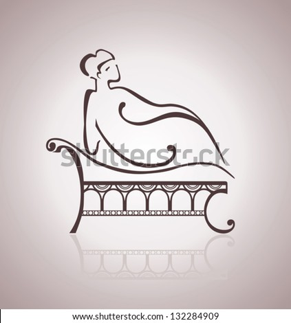 Woman lying on the sofa. Simple elegant image. - stock vector