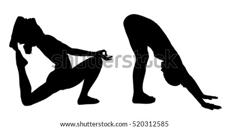 Woman makes yoga exercise. Vector silhouette. Vector images set (collection)