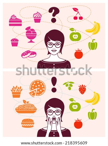 Woman making decision between healthy and unhealthy food - stock vector