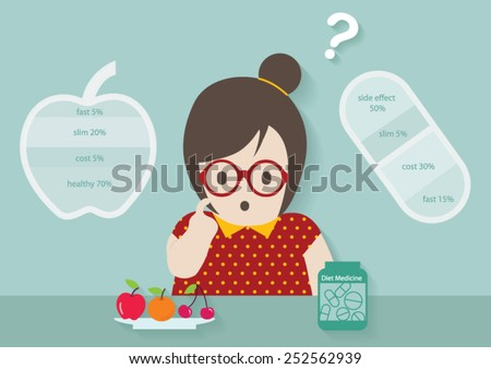 Woman making decision to eat between fruit and diet medicine vector cartoon. - stock vector