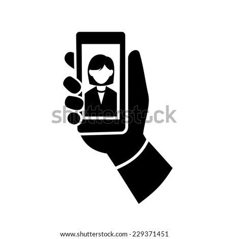 Woman Making Selfie Photo Icon. Vector illustration - stock vector