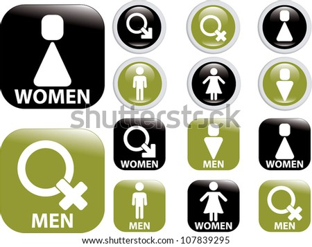 woman & man buttons, icons set, vector - stock vector