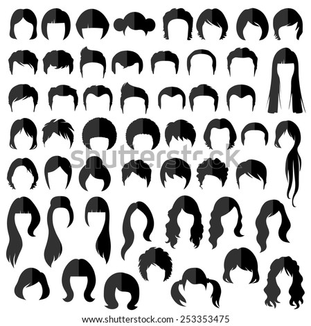 woman , man hair, vector hairstyle silhouette - stock vector
