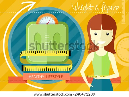 Woman measuring her slim body. Flat design colorful concept for keeping fit, weight loss, fitness, dieting, nutrition regime, healthy lifestyle on stylish background - stock vector