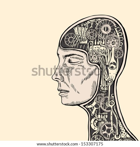 Woman meditating and inducing calmness, physical relaxation,  improving the cogs of psychological balance. - stock vector