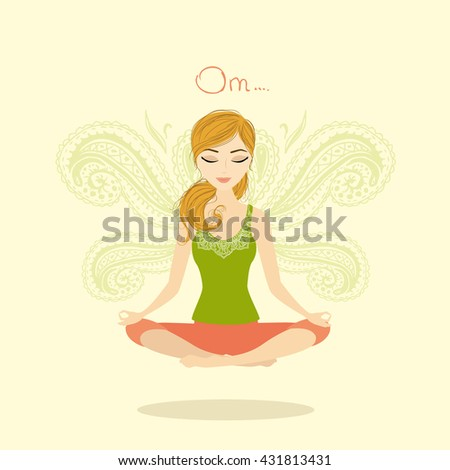 Woman meditating and relaxing in lotus pose, vector illustration - stock vector