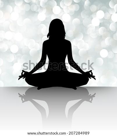 woman meditating defocused lights background, yoga.  - stock vector