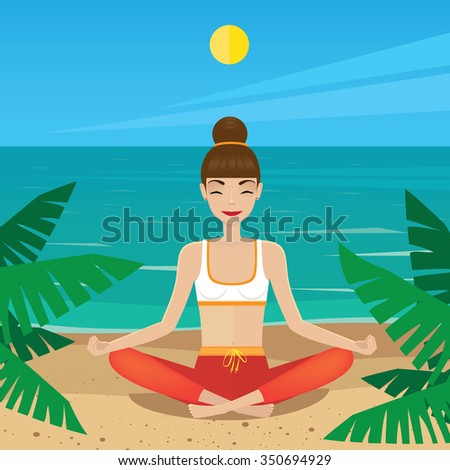 Woman meditating in lotus pose at midday - inner peace concept. Vector illustration