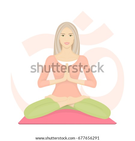 Woman meditating in lotus pose. Girl with crossed legs. Yoga, sport and fitness. Vector illustration