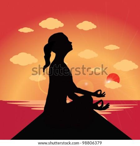 Woman meditating. Vector Sunset Yoga - stock vector