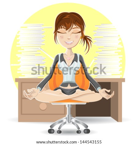 Woman Meditation At The Office Calming Down In Busy Environment - stock vector