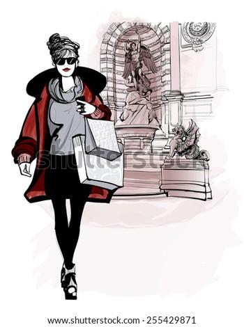 woman near Saint Michel in Paris - vector illustration - stock vector