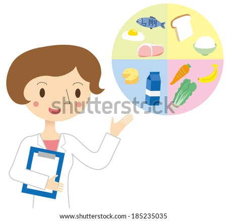 Woman nutritionist - stock vector