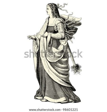 "Woman of the 15th century - vintage engraved illustration - ""Costumes anciens et modernes "" by Cesare Veccello ed.Firmin-Didot  in 1859 - Paris"