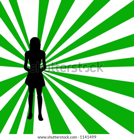 Woman on a retro background - stock vector