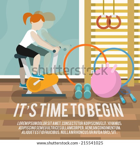 Woman on cycling machine in gymnasium fitness lifestyle time to begin poster vector illustration - stock vector