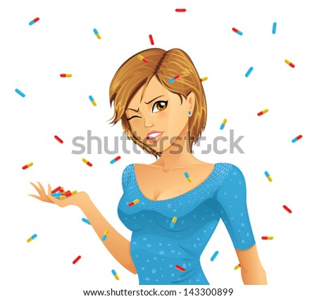 Woman overwhelmed by medicine pills - stock vector