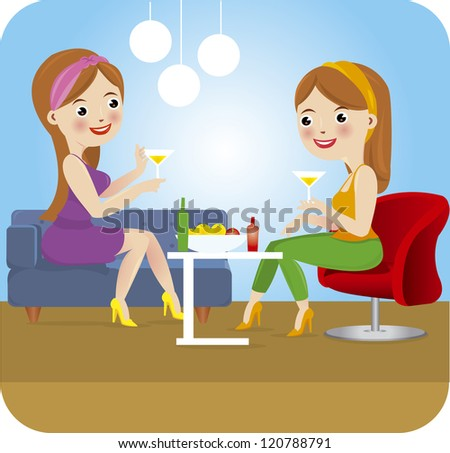 woman party - stock vector