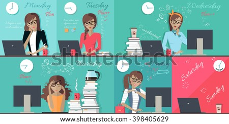 Woman plan work week design flat. Set of images of each working day from monday to friday, office worker woman. Illustration working hours, vector schedule everyday busy work week business woman - stock vector