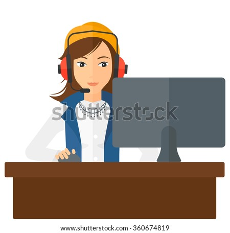Woman playing video game. - stock vector