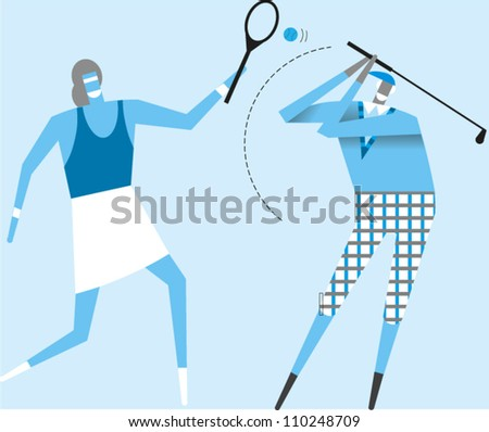 Woman plays tennis while an elderly man plays golf - stock vector