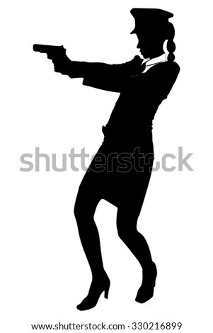 woman police officer with a gun