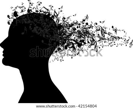 Woman portrait silhouette with music notes as hair - stock vector