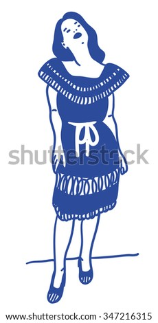 Woman posing with a blue dress - stock vector