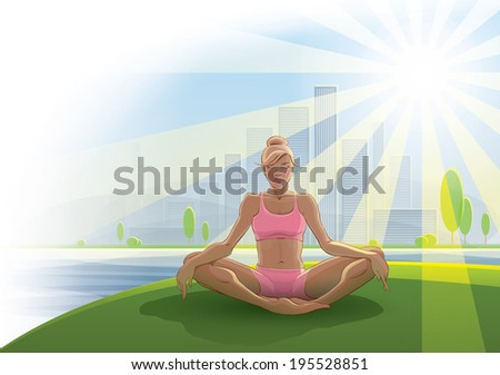 Woman practices yoga outdoors - stock vector
