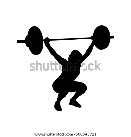 woman practicing with barbell weight lifting bodybuilding vector isolated silhouette